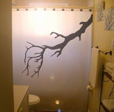 Lady shower curtain naked