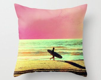 Check out Surf Pillow Cover, Surfer Decor, Beach Pillow, Ocean Home Decor, Beach House, Surfer Pillow, Water Sports, Pink Green Sea Sand Silhouette on mayaredphotography