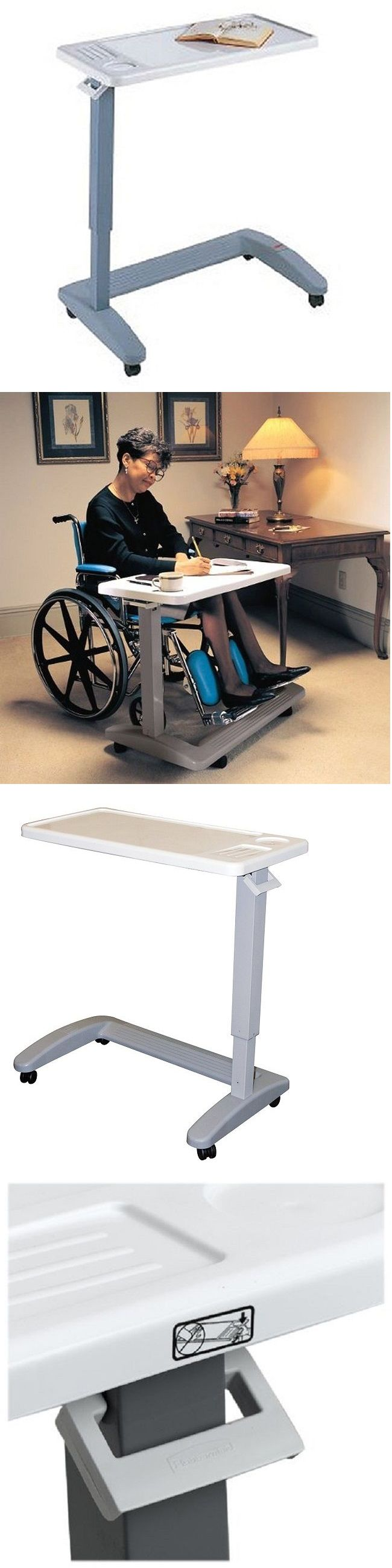 Overbed table food tray non tilt top bed hospital adjustable rolling - Bed And Chair Tables Heavy Duty Overbed Table Adjustable Medical Hospital Top Rolling Senior Wheels
