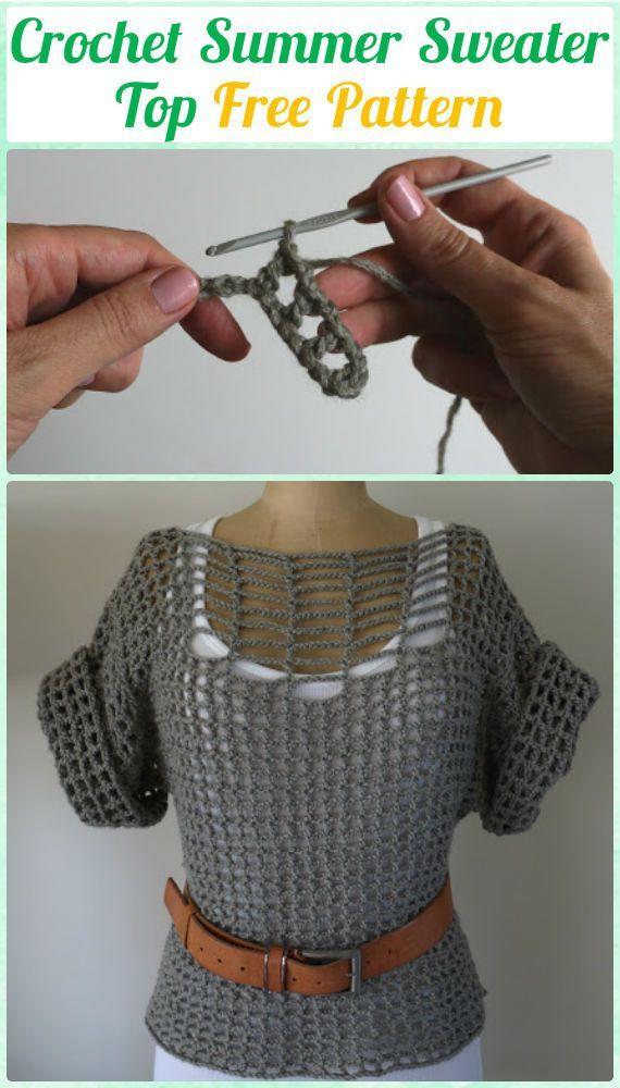 Crochet Double Stitch Summer Sweater Top FreePattern - Crochet Women Pullover Sweater Top Free Patterns