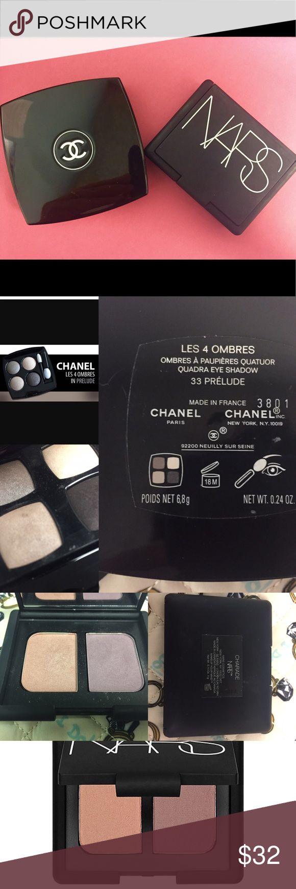 Chanel quad and NARS eyeshadow duo Both quads are being sold together. Have been used a handful of times. The NARS duo has only been swatched two times. Gorgeous, buildable shades that will flatter anyone. The Chanel quad is missing the little brush. CHANEL Makeup Eyeshadow