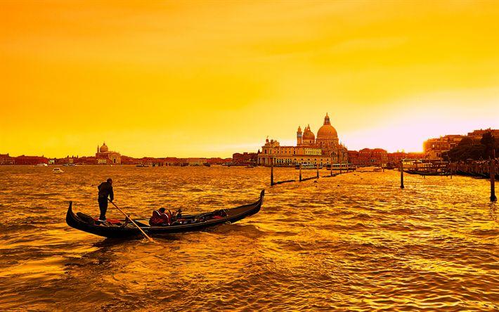 Lataa kuva Venetsia, sunset, vene, Italia, illalla, Santa Maria della Salute