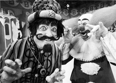 Wizzo (Marshall Brodien) and Bozo (Bob Bell) from WGN-TV's Bozo show in 1978  http://bozo-the-clown.info/the-unusual-history-of-bozo-the-clown/