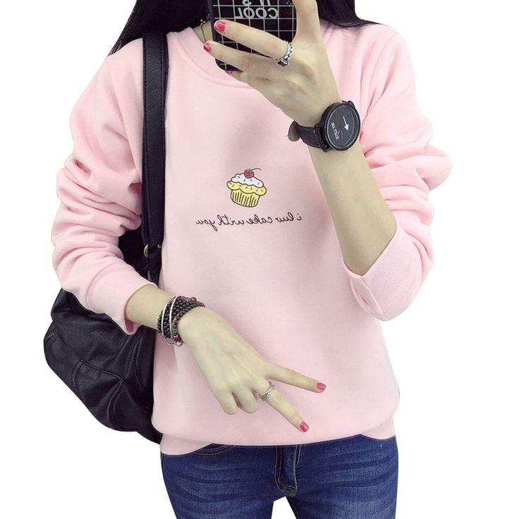 秋冬女性のアイスクリームカシミヤsweathirt厚い緩いトップスかわいいパーカー手紙シャツピンク/ブルーパーカーmoleton feminina