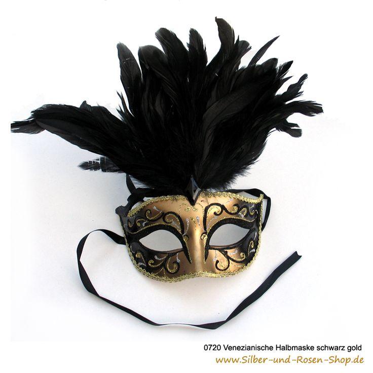 Karnevals Halbmaske venezianisch schwarz gold #Faschingsmaske #Karnevalsmaske