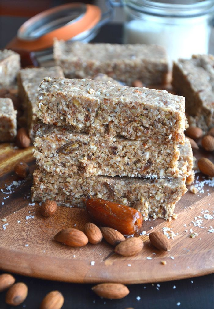 Almond Coconut Protein Bars with Hemp Seeds - Vegan, GF, No-Bake
