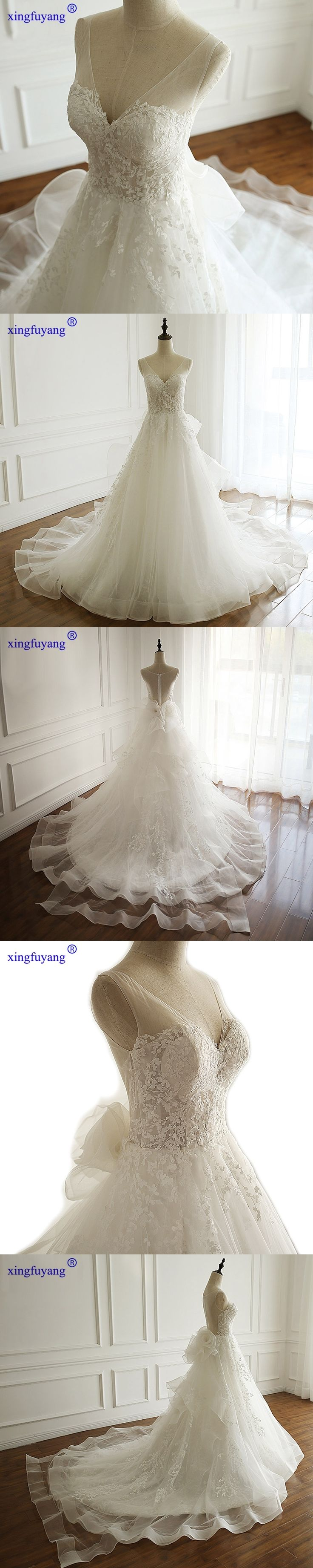 V Neck Detachable Wedding Dress Skirt Strap Ivory White Vintage Wedding Dress Lace Flower Wedding Dresses With Detachable Train