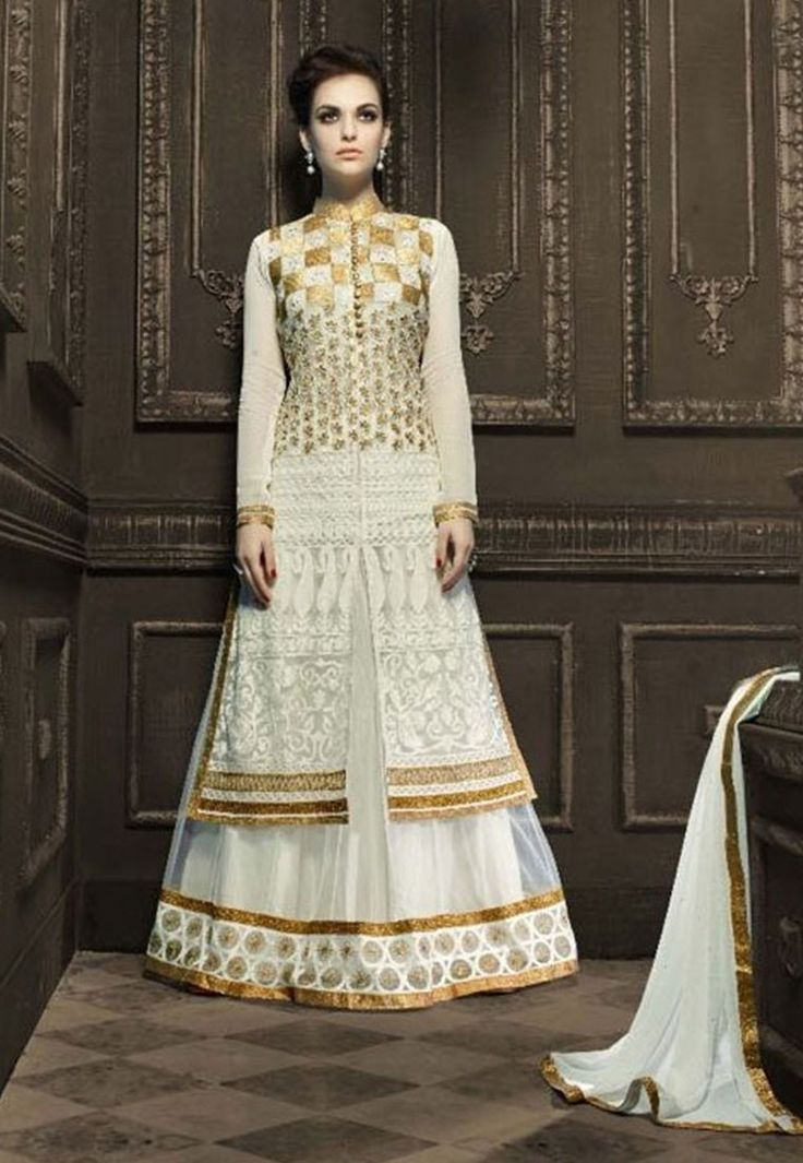"""""""#Fashion is what one #wears oneself. What is #unfashionable is what other people #wear. """"Shop""""#White #Color Faux #Gerogette #Designer #Anarkali #Salwar #Kameez"""