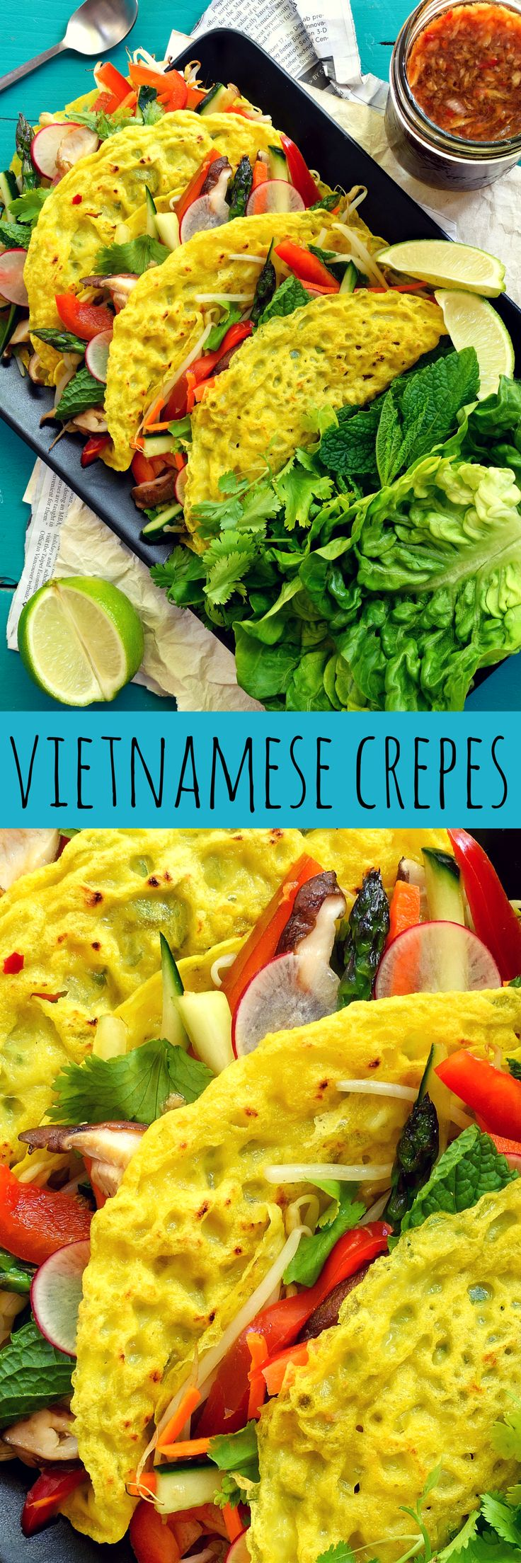 Vegan banh xeo are crispy, coconut-y rice flour pancakes stuffed with deliciously crunchy raw veggies and fresh herbs served along with the typical sweet, sour, spicy, salty dipping sauce.
