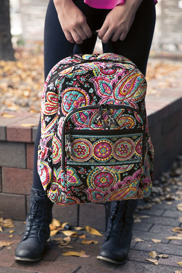 Campus queen. The Campus Backpack from Vera Bradley is the perfect combination of style and studies. Pack all the books, folders and notebooks you'll need inside the roomy main compartment. Use the pockets and compartments inside the front zip pocket to organize your pens, phone and other go-to items! The padded straps will keep you comfy no matter how full the backpack gets!