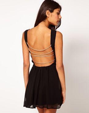 love the back!: Fashion, Asos, Back Dresses, Style, Chains, Rare Skater, Black Skater Dresses