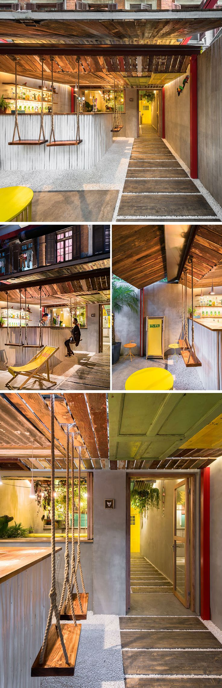 Q&A Architecture Design Research have designed Barraco, a new bar in Shanghai, China, that features recycled materials, swings and a hanging table. #BarDesign #InteriorDesign