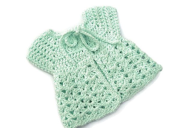 Baby Sweater in Crochet - Green Sleeveless Cardigan - Handmade by Amanda Jane in Ireland