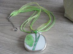 """Necklace - Pottery Shard """"Tree Leaves"""""""