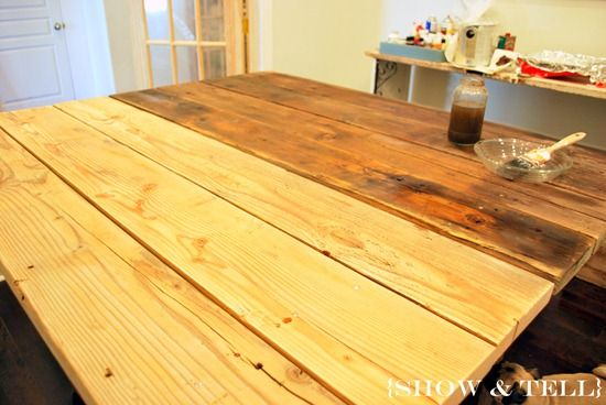 how to weather new wood: Old Barns Wood, Weather Wood, Steel Wool, Kitchens Ideas, Wood Tables, Old Wood, Age Wood, Diy Home, Home Furniture