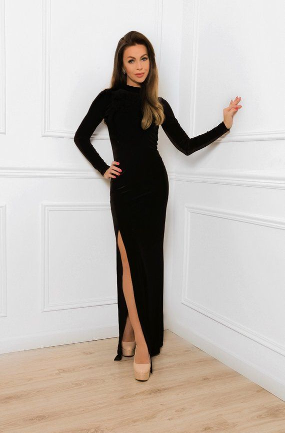 f6ecc30d09 Black Velvet Maxi Bodycon Dress  With High Neck Long Sleeves Side ...