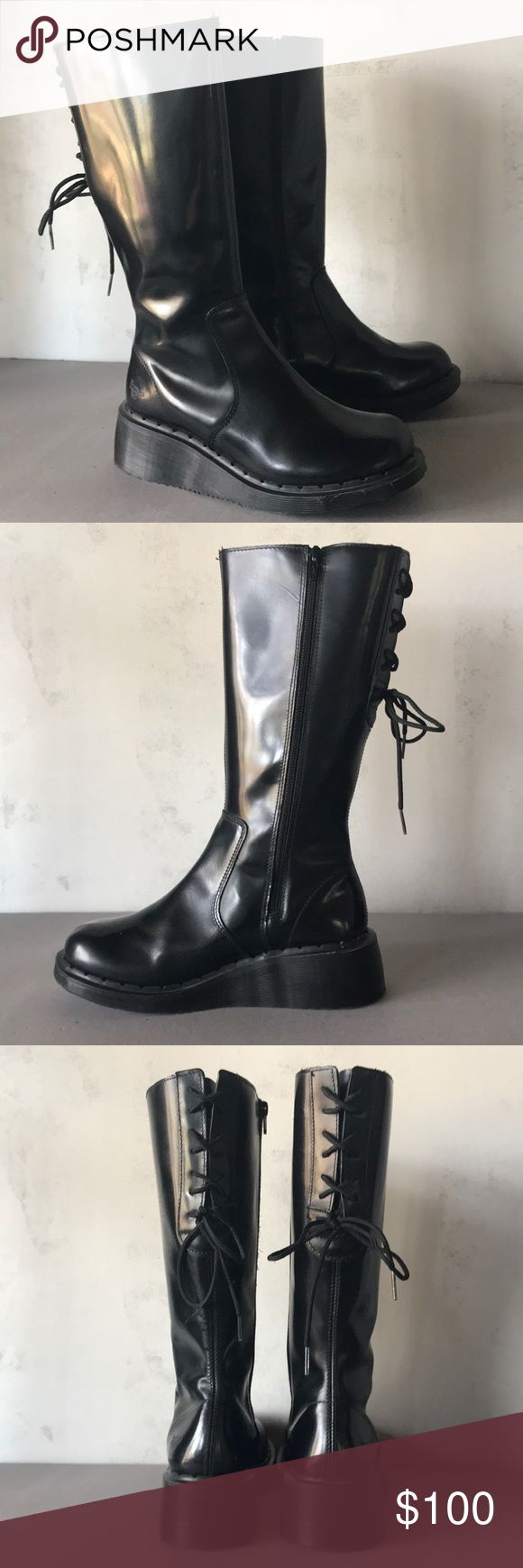 Dr Martens Mid Calf Boots Rare Dr Martens mid calf wedged boots. Side zipper. Laced back for that just right fit. Air cushioned sole. Beautiful condition. UK 6/US 8. Made in 🇬🇧 Dr. Martens Shoes Lace Up Boots
