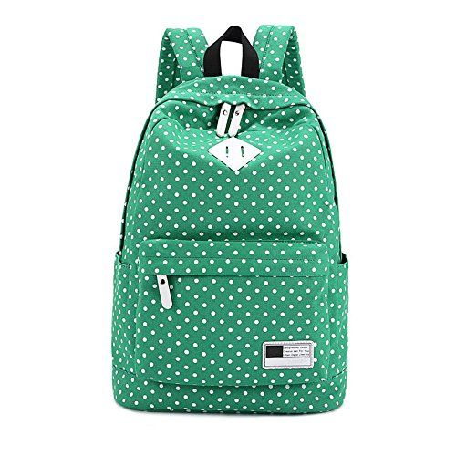 Celendi Canvas Backpack Travel School Shoulder Bag Dot Printing Teenage Girls Bags for 1415 Laptop PC A4 Magazine iPad 34Air Green *** You can get additional details at the image link.