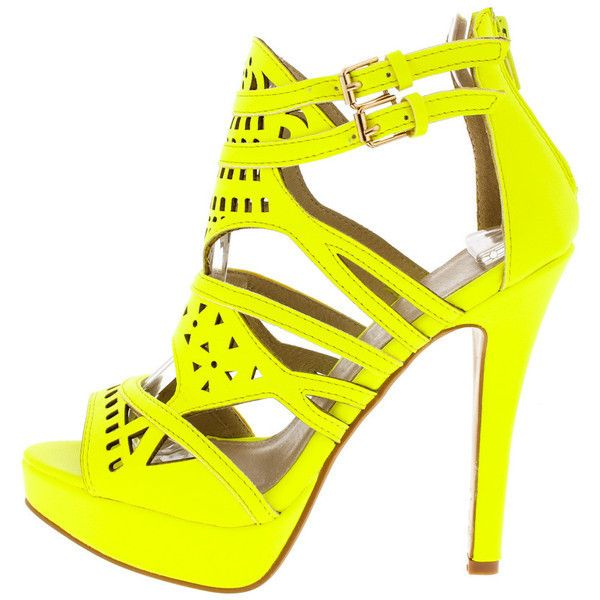 ANOUK NEON YELLOW LASER CUT OUT PEEP TOE HEEL ($11) ❤ liked on Polyvore featuring shoes, neon flats, flat pumps, wedge heel shoes, neon shoes and yellow flats