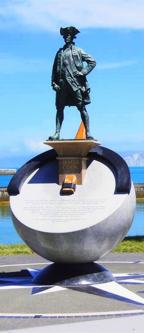 James Cook monument in Gisborne, East Cape, NZ
