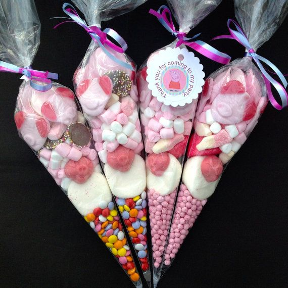 Peppa Pig Theme Pre Filled Candy Cones by AffinitySweets on Etsy