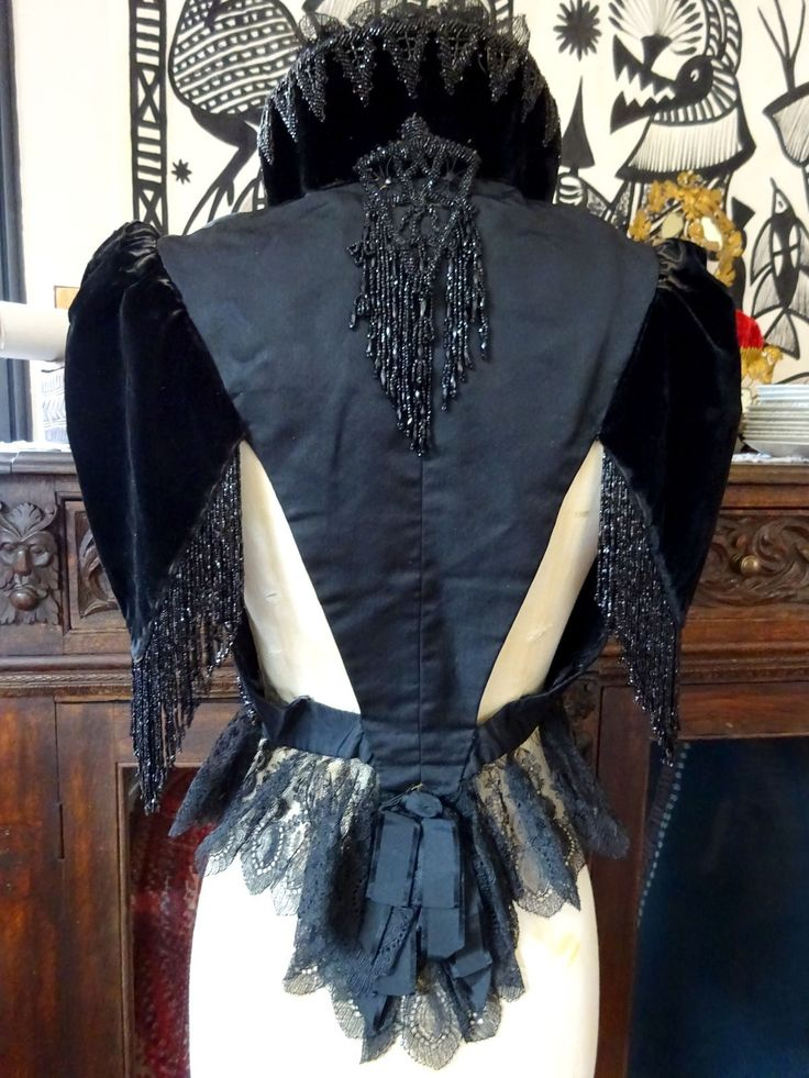 House of Worth Paris Victorian Velvet Mourning Evening Jacket Velvet Beads in Antiques, Fabric/Textiles, Other Fabric/Textiles   eBay