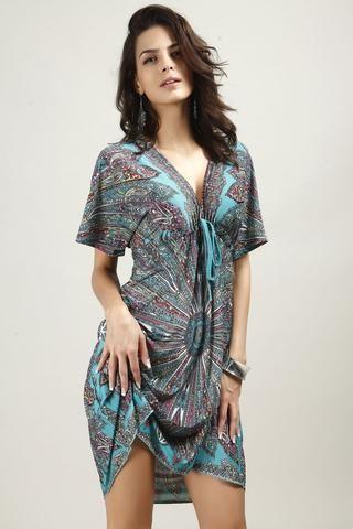 Bohemian Summer Deep Neck Beach Dress - One Size