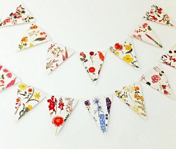 Flowers Bunting recycled Garland floral banner up-cycled
