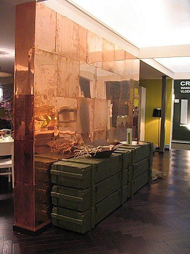 (C) Vosgesparis: VT Wonen home {back in 2007} copper wall and army boxes as a side table