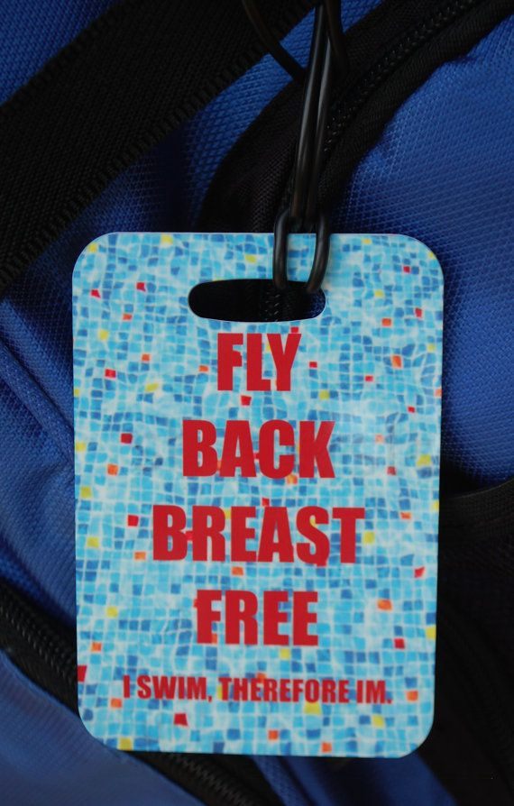 Fly Back Breast Free Swim Bag Tag Sport Bag Tag by FlipTurnTags, $5.95