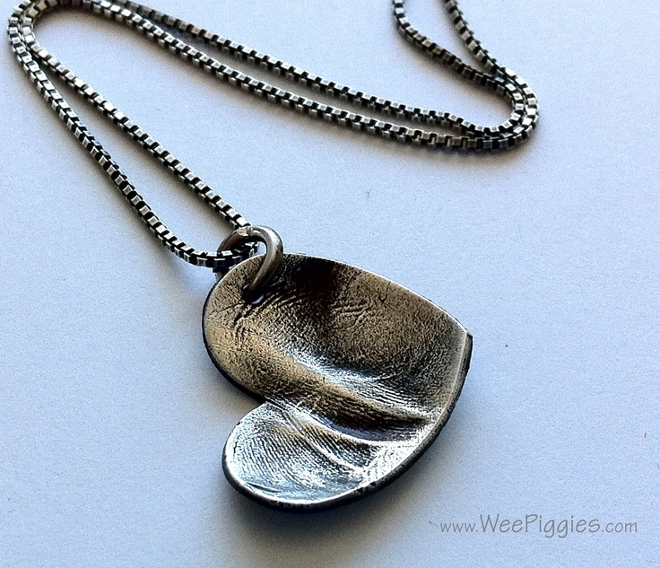 Sweet Baby Toe Print in Sterling Silver. WeePiggies.com