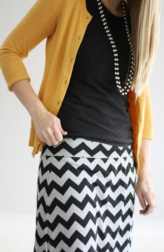 navy cotton top, yellow three-quarter sleeve cardigan, zigzag navy   white skirt :: office glam