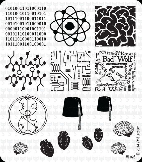 Nail Art Stamping Plate VL 026 by VividLacquer on Etsy It has Doctor Who, nough said..