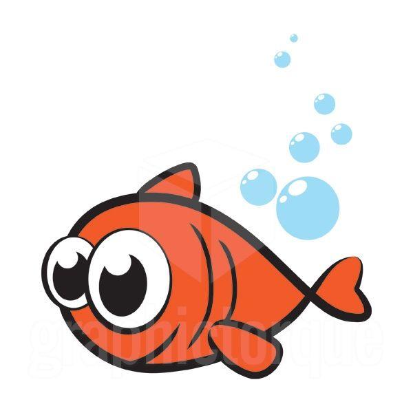 Big eyes silly fish - vector illustration.