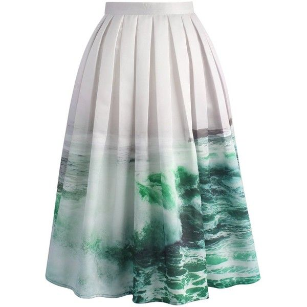 Chicwish Coastal Demeanour Printed Midi Skirt ($49) ❤ liked on Polyvore featuring skirts, bottoms, chicwish, saia, green, green midi skirt, green skirt, midi skirt, calf length skirts and crop skirt