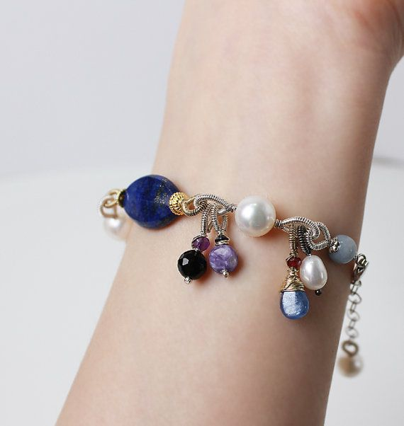 Multistones Charm Bracelet. by sonhee on Etsy, $255.00