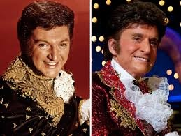 Behind the Candalabra...HBO movie (2013) starring Michael Douglas (Liberace) and Matt Damon (Scott Thorson). Right: Michael Douglas in his role as Liberace. Movie based on Scott Thorson's book.
