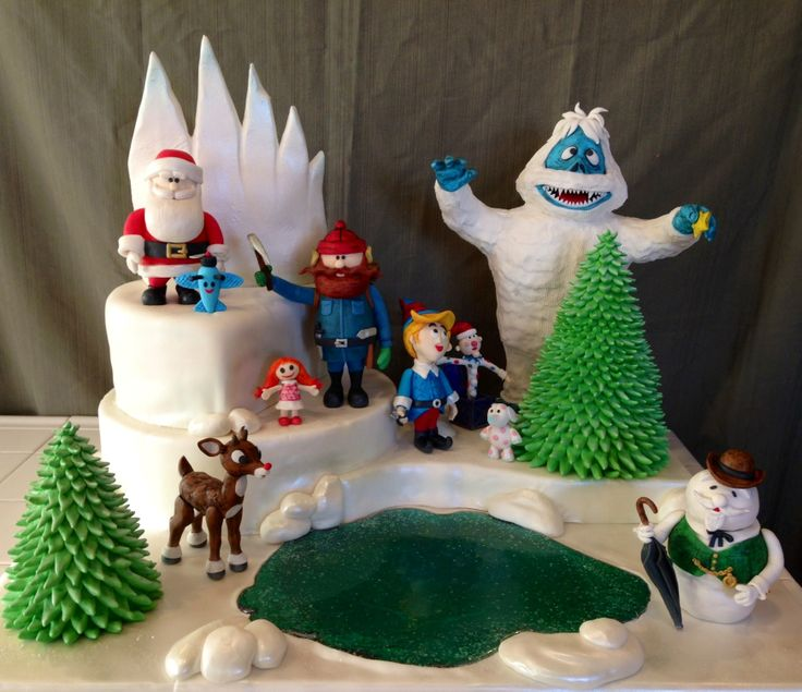Rudolph the Red-Nosed Reindeer Cake (Rice Krispie figures all edible)