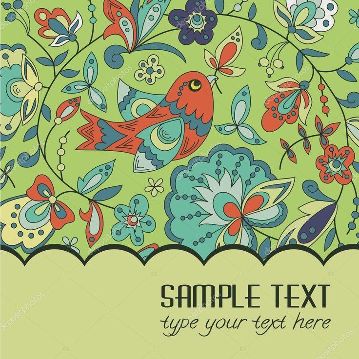 Виньетка или открытку для текста с птицы, листья и цветы. яркие цвета