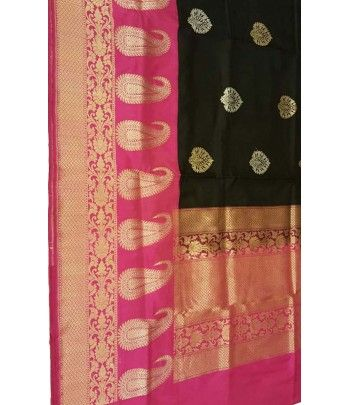 Black and Pink Banarasi Handloom Silk Saree
