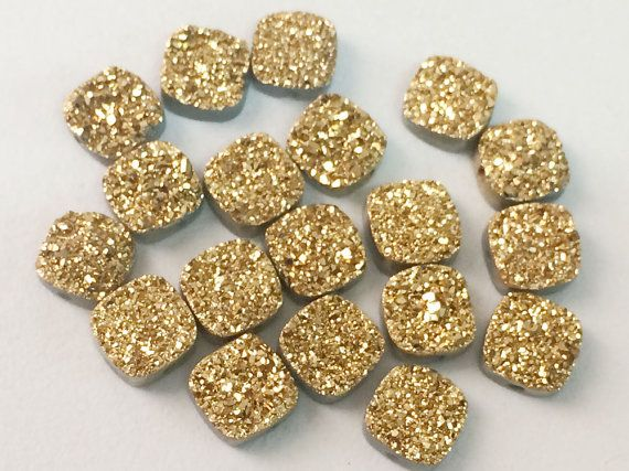 6 Pcs Gold Druzy Titanium Gold Druzy 10mm Matched by gemsforjewels