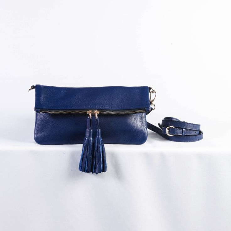 Olivia Leather Fold Over Clutch in Blue