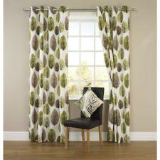 Amazing Retro Leaf/Leaves Print White & Green Eyelet Curtains 90 x 90 BNIP