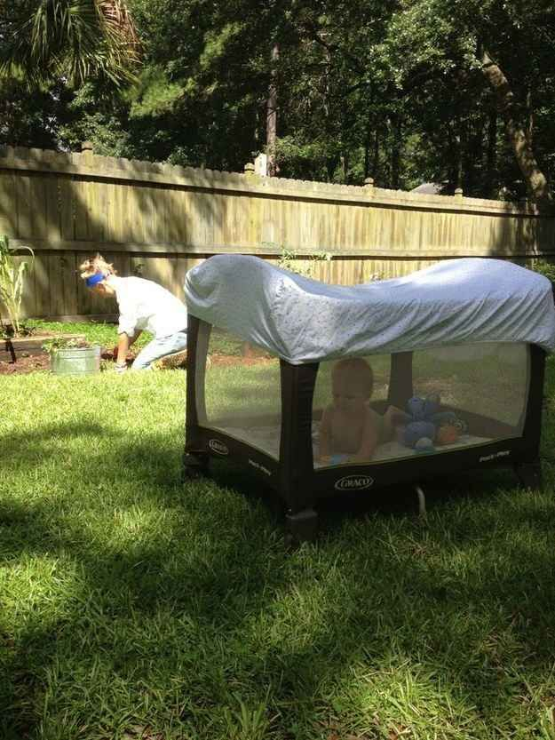 A crib sheet will keep an outdoor baby from getting bitten up by mosquitoes. Also good just for shade.