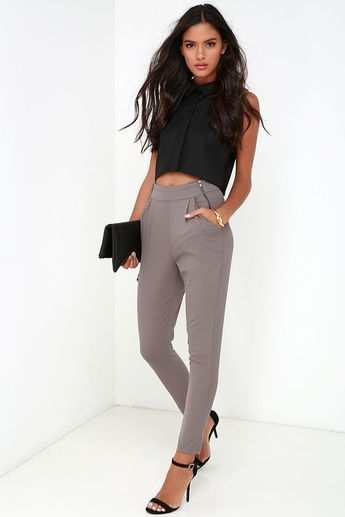All About That Sass Taupe Trouser Pants