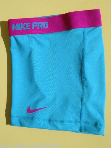 New Turquoise Fuchsia Nike Pro Combat Women's Dri Fit Compression Shorts