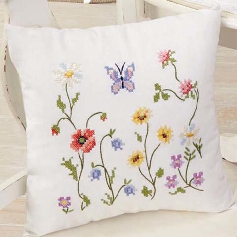 Duftin Wildflowers Pillow Cover Stamped Cross-Stitch Kit