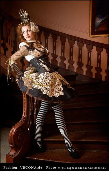 Gothic Victorian Steampunk Alice In Wonderland  Womens -4285