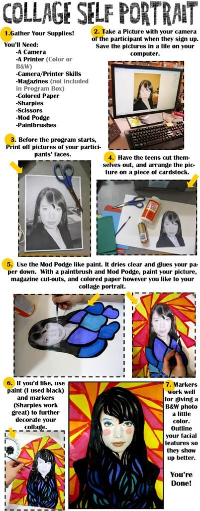 Delicious.  Collage Self Portrait Instructions: A program for teens, or any age, really.  Revised Instructions from Rachel Moani