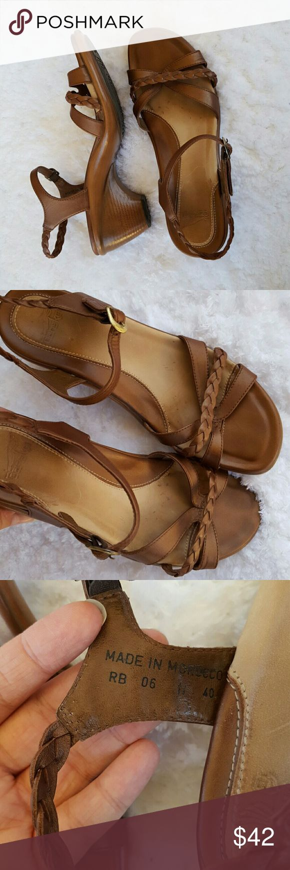 Dansko Brown Heeled Sandals Size 10 EUC So cute and comfy! Great used condition, see photos for minor flaws. Nothing too noticeable, some insole wear, leather crinkling, some scuffing of the metal buckles, and scuffing on the toes. Grab these up for Spring, it'll be here before you know it! Dansko Shoes Sandals